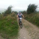 Becky climbing Bleeding Hill